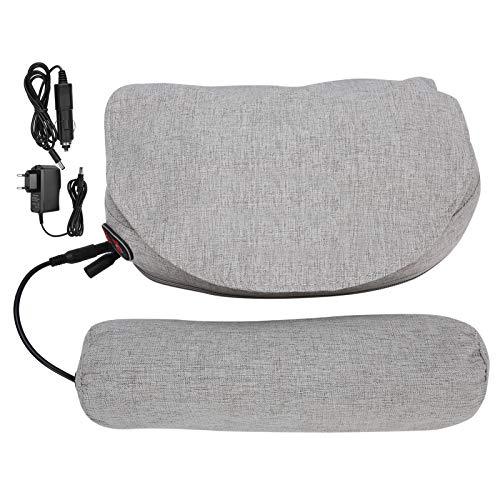 Disfrute de verano almohada masaje, Capa rodante 12V Ajuste libre de velocidad Almohada cervical eléctrica, Masajeador de espalda eléctrico, para relajación muscular Uso de(gray)