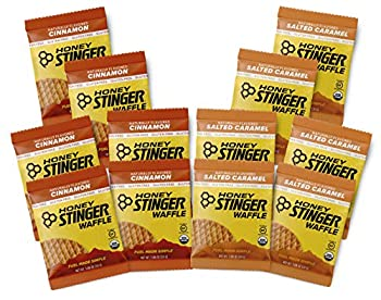 Honey Stinger Gluten Free Organic Waffles – Variety Pack With Sticker – 12 Count – Energy Source for Any Activity – Salted Caramel & Cinnamon - 6 of Each Flavor