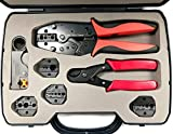 ConnectoRF Heavy Duty Quick Change Ratchet Crimping Tool Kit for Coaxial Cable With Crimper Cutter Stripper and 4 Die Sets