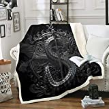 Dragon - Manta de sherpa negra para sofá, cama, sala de estar, alas de daga de franela...