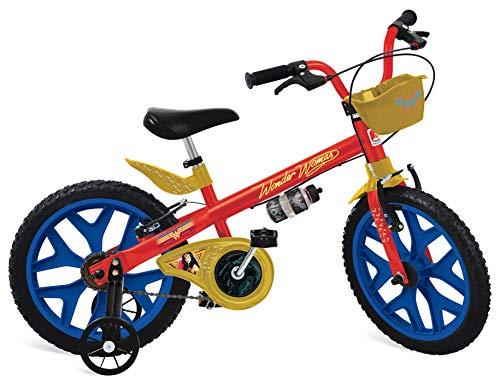 """Bicicleta 16"""" Mulher Maravilha, Bandeirante, Vermelho"""