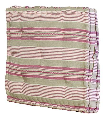 Jute & Co. Elba Cuscino Tipo Materasso con Maniglia, 43 x 43 x 8 cm, Cotone, Multicolore