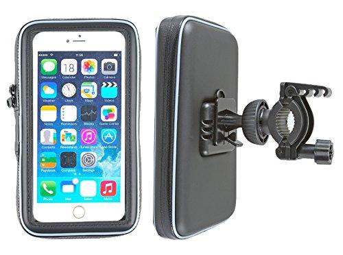 smart2Bike® Fahrradhalterung / Motorrad-Halterung mit Schutz-Tasche für Smartphone, Navigator, Handy, uvm. - Display-Diagonale Universal: bis 6,3