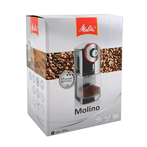 Melitta Molino Coffee Grinder, 1019-01, Electric Coffee Grinder, Flat Grinding Disc, Black/Red, CD - Molino - red mat