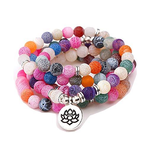 TYGJB Moda Mujer `s Cristales Naturales Pulsera de Piedra Color Perlas con Lotus Charm Yoga Pulsera 108 Mala Collar (Multicolor)
