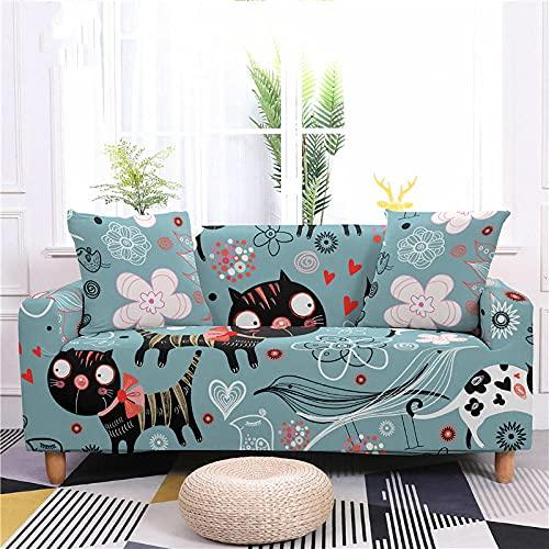 Fundas Sofas 3 y 2 Plazas Ajustables Gato Negro Gris Azulado Fundas para Sofa Spandex Lavables Desmontables Fundas Sofa Elasticas Cubre Sofa Modernas Universal Espesas Funda para Sofa
