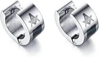 PJ Stainless Steel Freemason Masonic Symbol Small Huggie Hinged Hoop Earrings for Men Boy