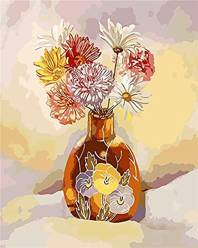 RNTJRTT Malowanie według numerów zestawy wazon DIY obraz na płótnie dla dorosłych i dzieci z 3 pędzlami i farbami akrylowymi bez ramy 40 * 50 cm