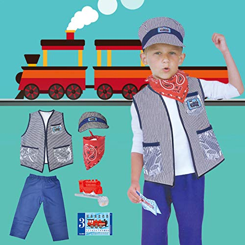 SHEDE Costumes Baby's Train Engineer Toddler Costume Children's Day Clothing Props With Cap And Accessories Suitable For Boys And Girls compatible