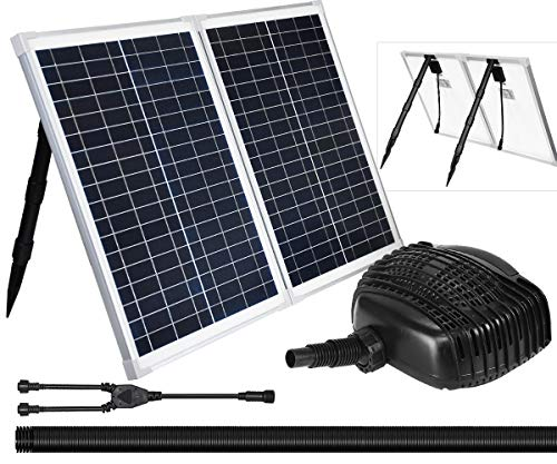 50W Solar Powered Fountain Water Pump Kit, 898GPH+ Submersible Pump with 50Watt Solar Panel for Waterfall, Filtration System, Sun Powered Fountain, Aquaculture, Fish Pond, Pond Aeration, Hydroponics