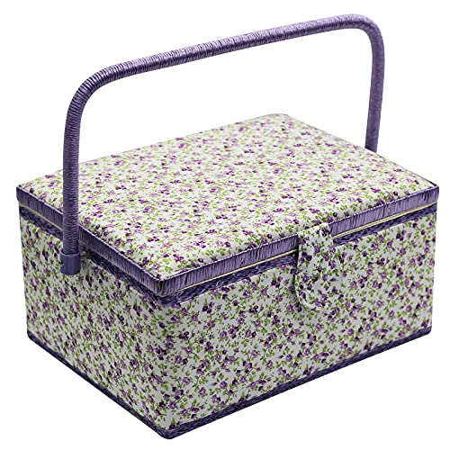 Medium Sewing Basket with Accessories Sewing Storage Box with Supplies DIY Sewing Kits for Beginner (purple)