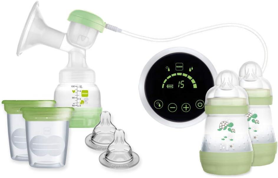 MAM Sacaleches 2 en 1 E108 - Sacaleches Eléctrico y Manual Para la Lactancia Materna, Incluye Extractor de Leche Materna, Biberones y Recipientes de Conservación, 0+ Meses, Blanco y Verde