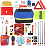 Roadside Emergency Car Kit with Jumper Cables 20 ft, Auto Vehicle Safety Road Side Assistance Kits,First Aid Kit,Tow Rope,Flashlight,Tire Pressure Gauge,Reflective Warning Triangle,Window Breaker