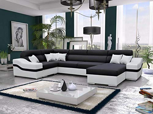 all4all Großes Ecksofa mit Schlafffunktion Bettkasten XXL Wohnlandschaft Lena Polstersofa Garnitur Couch XL Sofa Stoff 26 (Rechts)
