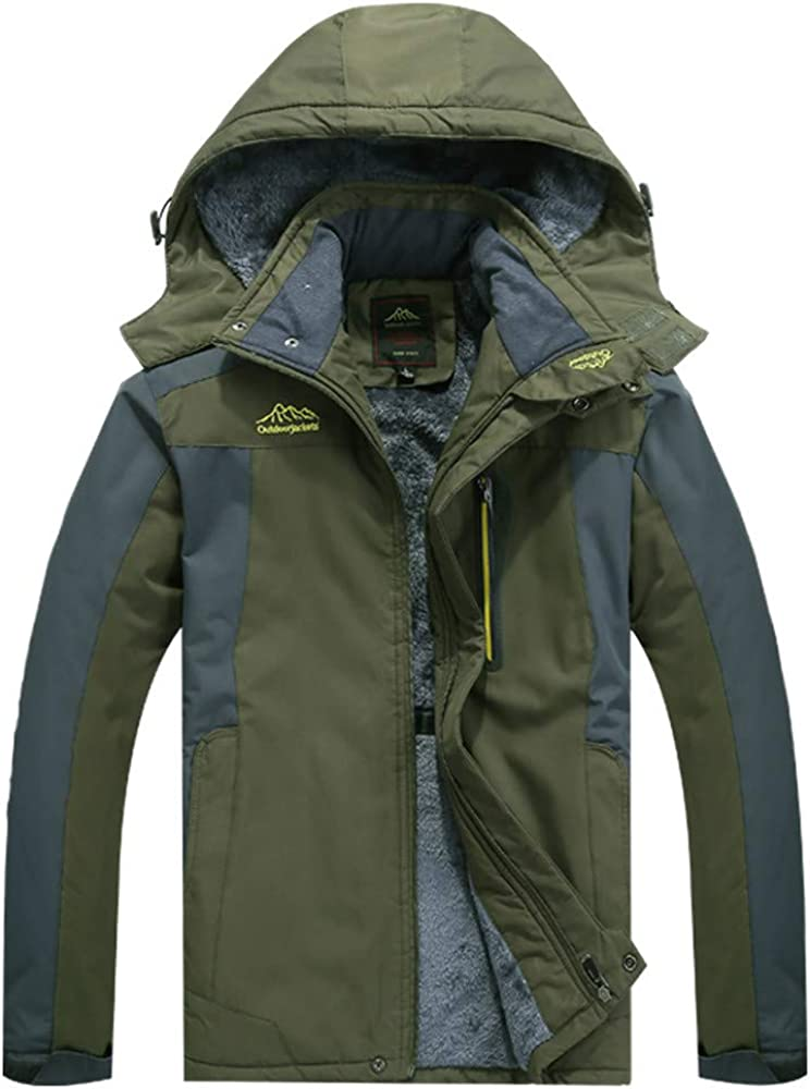 DIOMOR Mens Outdoor Fleece Lined Snow Jacket Parkas with Removable Hood Winter Waterproof Warm Down Coat Plus Size