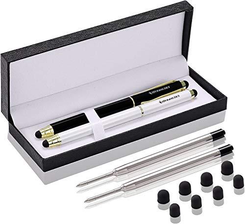 3-in-1 Stylus-Stifte für Touchscreens, Capactive Stylus für Smartphones, Tablets (14,5 cm Länge), extra 2 Ersatzminen + 8 Gummispitzen, schwarz/goldfarben, perlweiß/gold