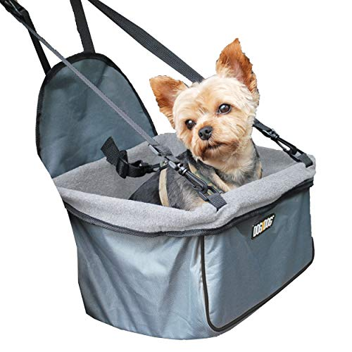 DOG for DOG Puppy Booster Car Seat Cover for Small Dogs and Puppies - Portable, Foldable, Collapsable Pet Car Carrier with Safety Leash - Dogs 12lbs and Under (Grey)