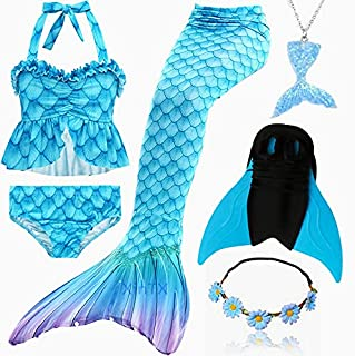 6PCS/Set Rainbow Style Mermaid Tail Swimsuit With Fin For Kids Girls Holiday Dress Costume Bathing Swimuit (Color : Light ...