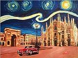 Poster 40 x 30 cm: Sternennacht in Mailand Italien mit