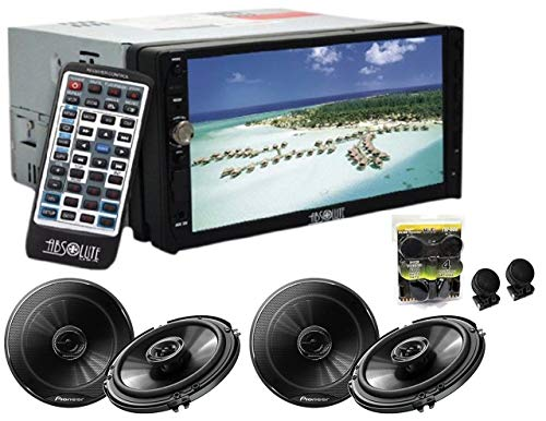 Absolute DD-3000 7-Inch Double Din Multimedia DVD Player with 2 Pair Pioneer TS-G1645R 6.5 Speakers and Free Absolute TW600 Tweeter