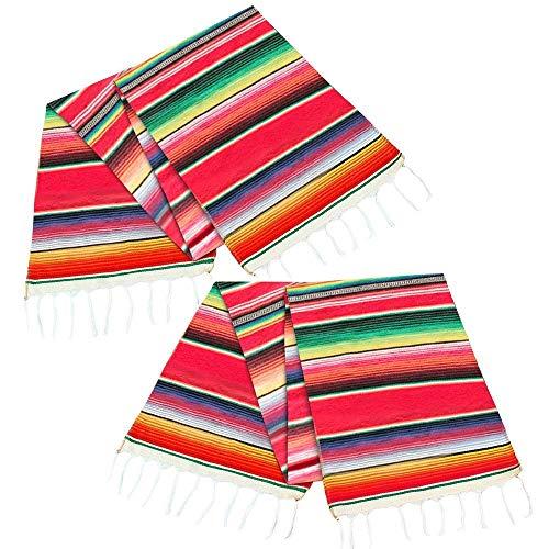 TOOGOO 2 Chemin de Table Mexicain Pack 14 par 84 Pouces 14 X 84 Pouces Mexicain Party Decorations de Mariage Fringe Coton Serape Couverture Chemin de Table (Rouge