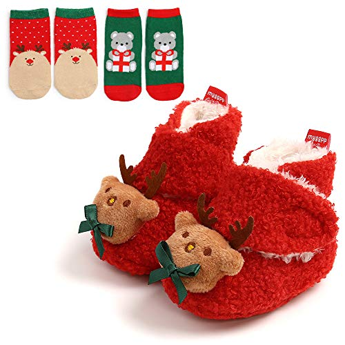 Ohwawadi Infant Baby Booties Cozy Fleece Newborn Slippers Soft Warm Christmas Dress Shoes Cartoon Crib Shoes with Socks