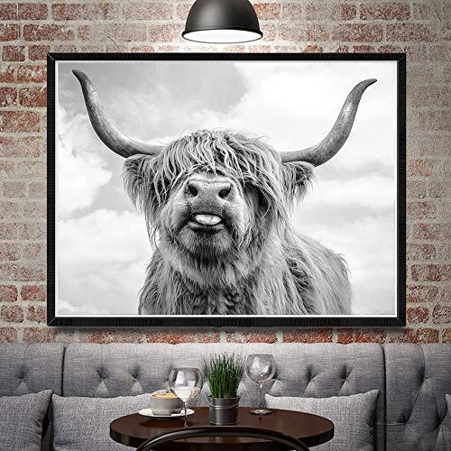 adgkitb canvas Manifesti e Stampe di Mucche delle Highland murali in Bianco e Nero Quadri su Tela Dipinti murali murali decorano Il Soggiorno 40x50cm Senza Cornice