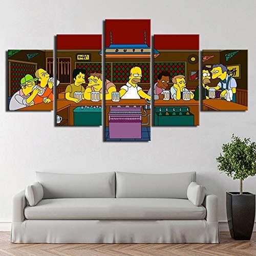 FJNS Arte de la Pared Modular Fotos Marco DE 5 Piezas Simpson Personaje de Anime Lienzo Pintura Cuadros Decoración habitación HD Cartel,B,40x60x240x80x240x100x1