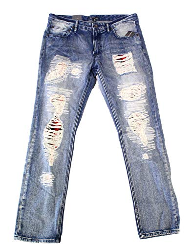 INC International Concepts Berlin Slim Straight Plaid Patch Distressed Denim Jeans (Medium Wash, 32W x 32L)