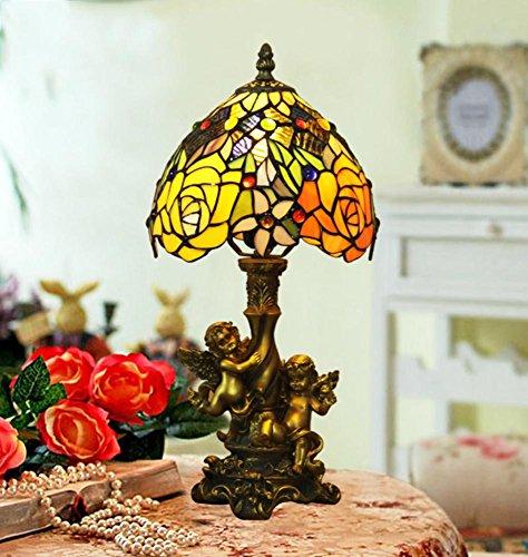 Tiffany-Stil Tischleuchte/Engel der Rosen Vintage Nachttisch-Lampe/befleckt Barock Glas...