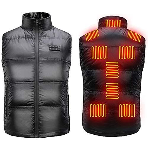 QJKai Schwarz USB Beheizte Jacke für Männer/Frauen,Leicht Waschbar USB Jacken Heizung mit 9 Heizzonen und 3 Temperaturregler,XXL Heizbar Weste für Outdoor Camping Skifahren Wandern Jagd