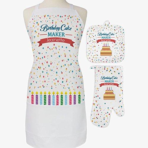 Personalized Direct Ensemble 3 pièces pour gâteau d'anniversaire avec tablier, manique et gant de cuisine