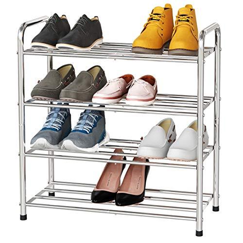 FANHAO Zapatero de 4 niveles de acero inoxidable Versión mejorada, organizador de zapatos, con capacidad para 12-16 pares de zapatos, para sala de estar, guardarropa y pasillo,60 x 26 x 65 cm