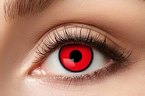 Zoelibat Farbige Kontaktlinsen für 12 Monate, Red Manson, 2 Stück, BC 8.6 mm / DIA 14.5 mm, Jahreslinsen in Markenqualität für Halloween, Fasching, Karneval, rot