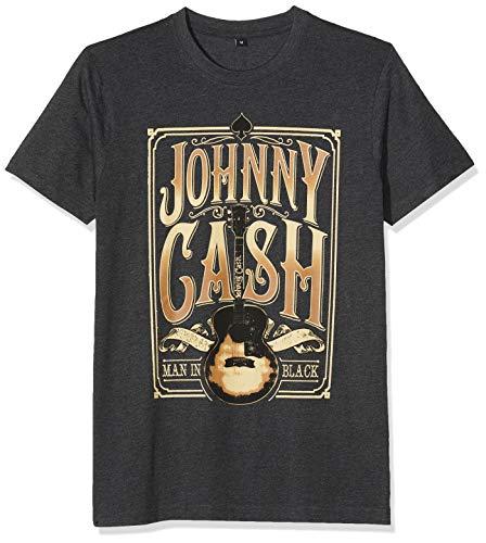 MERCHCODE Herren Johnny Cash T-Shirt, Charcoal, M