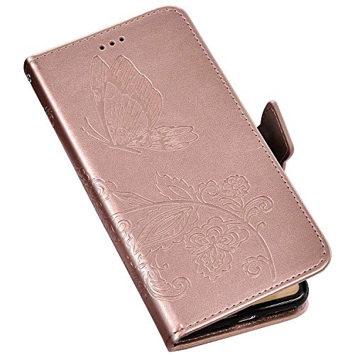 QPOLLY Kompatibel mit Huawei P30 Pro Hülle Leder Tasche Brieftasche Flip Wallet Case Schutzhülle Handyhülle Schmetterling Blumen Muster Klapphülle mit Standfunktion für Huawei P30 Pro,Roségold