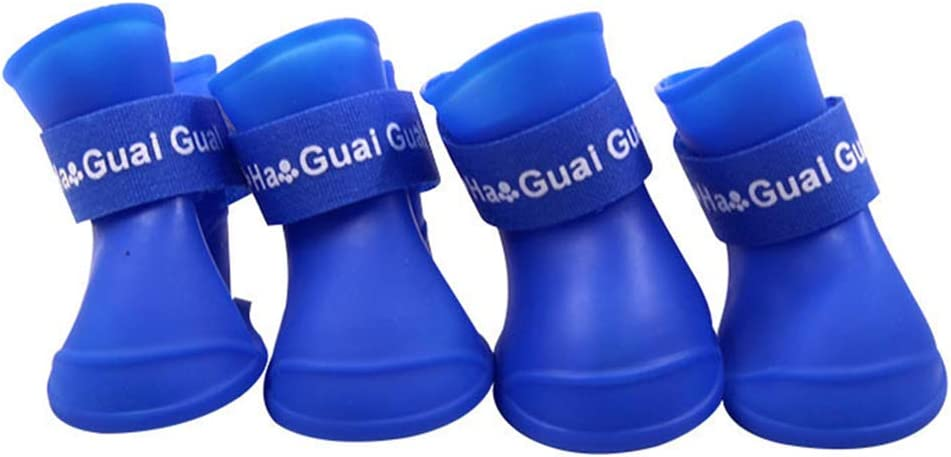 XYDZ 4 Piezas Botas de Lluvia para Perros Zapatos para Mascotas Antideslizante Botas Impermeables para Perros Pequeños Perrito (S)
