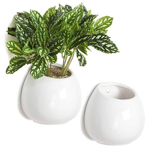MyGift 4 Inch Small Wall Mounted Ceramic Flower Plant Vase, Succulent Planter Pots, Set of 2, White
