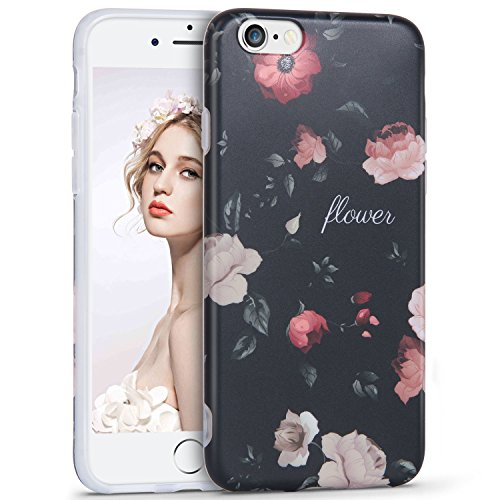 Imikoko Hülle für iPhone 6 6S Hülle Elegant Blumenmuster Retro Floral Beauty Protective Schützend Stoßfest Anti Staub Kratzer Soft Weich TPU Handyhülle Case Back Cover