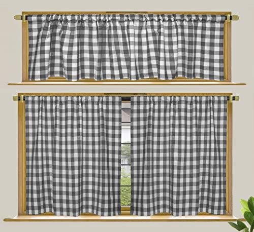 Cotton Craft Fensterbehandlungs-Set mit Vichy-Karomuster, 76,2 x 91,4 cm, ideal für Küche, Wohnzimmer, Waschküche, Schlafzimmer, 3 Stück Asiatisch 30x36/16x60 Grey & White