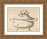 Anonymous Artist, French, 19th Century - 24x20 Gold Ornate Frame and Double Matted Museum Art Print - Design for a Soup Tureen with Pig on Top