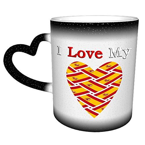 I Love My Spain Flag Weave - Taza de café de cerámica divertida de 11 onzas, taza de café de Navidad de cumpleaños única