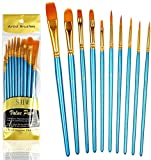 10 Piezas de Pinceles (Conjunto), Cepillo de nylon para Pintura...
