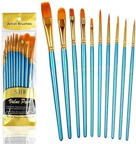 10 Piezas de Pinceles (Conjunto), Cepillo de nylon para Pintura acrílica, Pintura al óleo, Pintura de acuarela, pintura a la aguada, Pintura de la cara (azur)