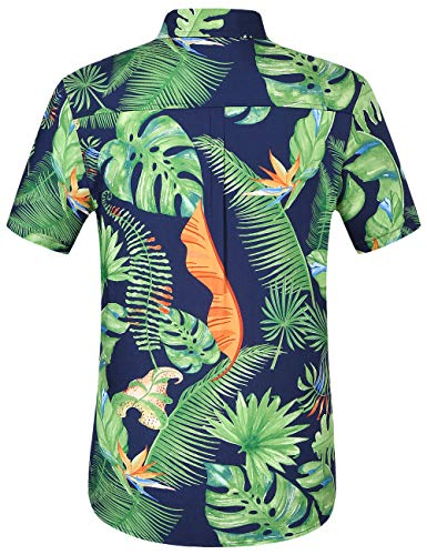 SSLR Men's 100% Rayon Standard Fit Short Sleeve Aloha Hawaiian Shirt (X-Large, Navy Green)
