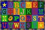 Flagship Carpets Early Blocks Rug, Children's Classroom Educational Carpet, 4'x6', Rectangle