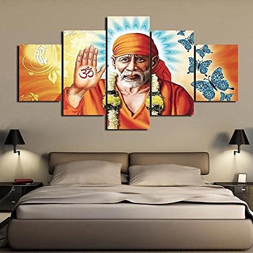 Quadro 150 x 80 cm 5 Pezzi Stampa su Tela in XXL Shirdi Sai Baba Hinduism Hindu Sage Decorazione...