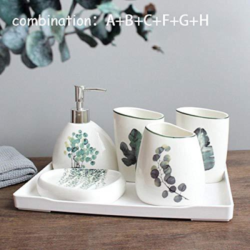 CZOOR Badkamer keramiek 6-delig/set badaccessoires set zeepkist lotion fles tandenborstel box mond kop combinatie dagelijks benodigdheden