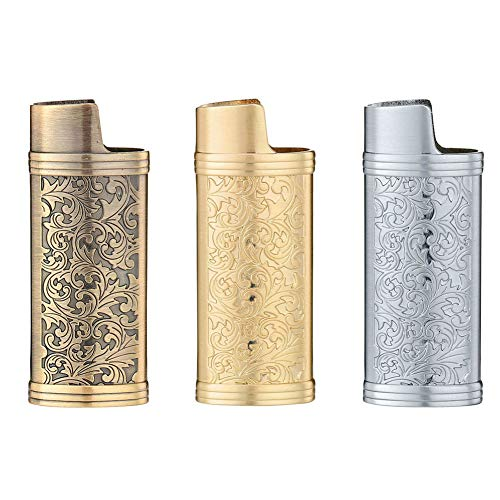 cigarette cases with bic lighters 3 Pieces Lighter Case Sleeve Holder Cover Fit for Mini BIC Lighter J5,Bronze + Silver + Golden