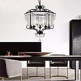 KEWEI - Lámpara de pared de 63 x 63 x 69 cm, color negro, 5 cabezales, para restaurante, sala de estar, comedor, dormitorio, estudio, hierro, lámpara LED